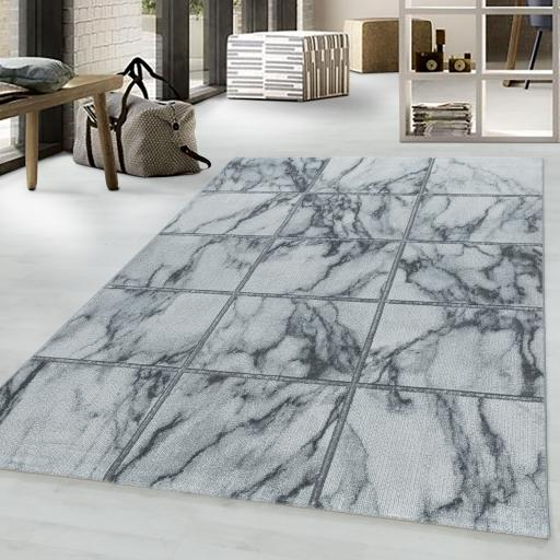 Naxos Squared Marble Like Design Gold and Silver Rug in White Colour