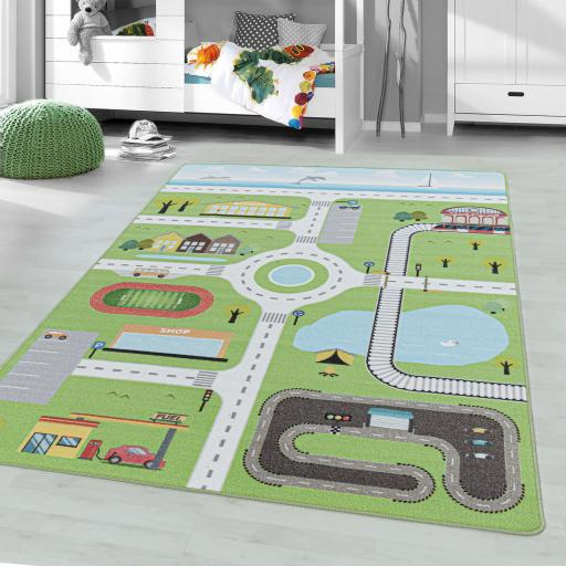 Kids Play Game Nursery Non-Slip Mat Road Street Railway City Map Rug in Green and Grey