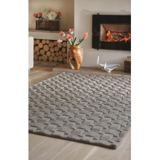 Origins Basketweave 3D Geometric Handmade Wool Rug in Grey