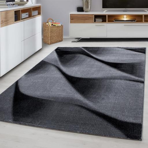 Parma Modern Wave Design 3D Black Rug