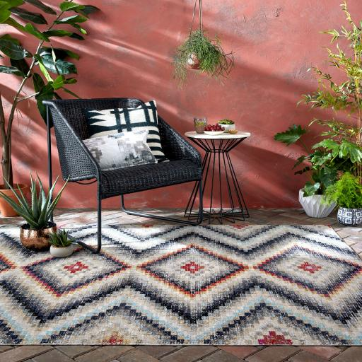 Manor Frances Vintage Style Geometric Design Outdoor and Indoor Rug in Multi