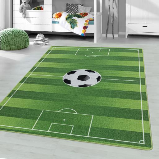 Kids Play Game Nursery Non-Slip Mat Football Pitch Rug in Green