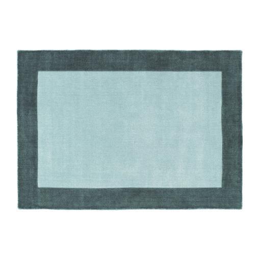 Origins Borders Hand Loom Woven Wool Bordered Rug Hallway in Grey