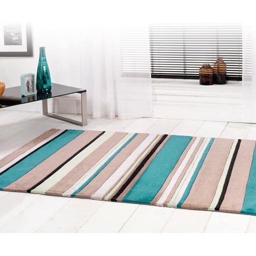Infinite Broad Stripe Design Rug in Teal 120 x 170 cm