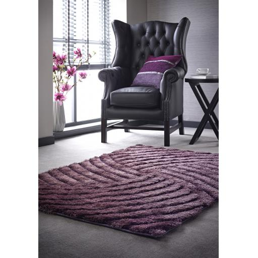 Dallas Hand Carved Soft Thick Pile Shaggy Rug in Mauve, Charcoal and Champagne