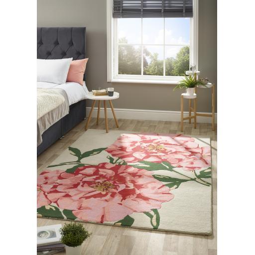 Origins Hand Tufted Flowerpop Floral Design Wool Pink/Green Rug