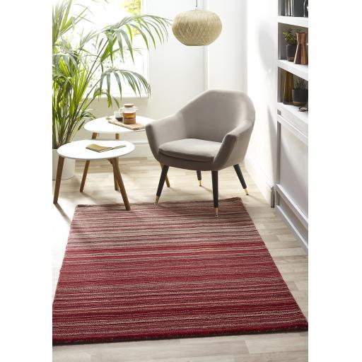 Origins Fine Stripes Hand Loom Woven Wool Rug Halway in Red