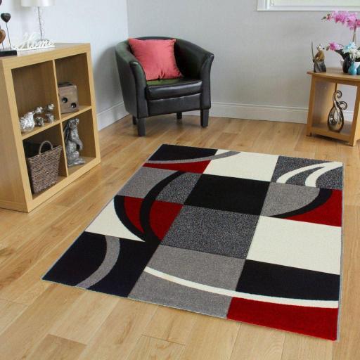 Havanna Modern Squared Design Art Style Soft Rug Red Grey 120 x 170 cm (4'x5'6'')