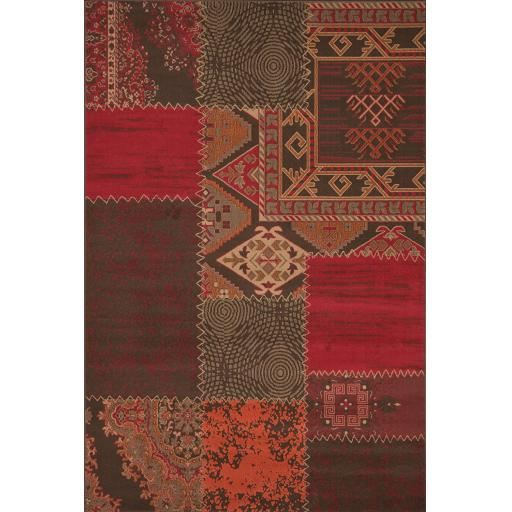 Contempo Traditional Patchwork Oriental Design Large Rug in Red 190 x 280 cm