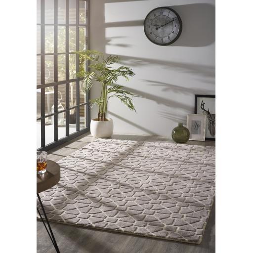 Origins Harmony Hand Tufted Geometric Wool Rug in Grey