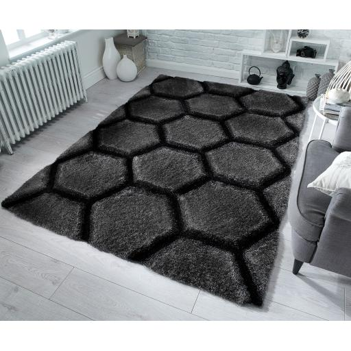 Verge Honeycomb Soft Charcoal Rug in 80 x 150 cm