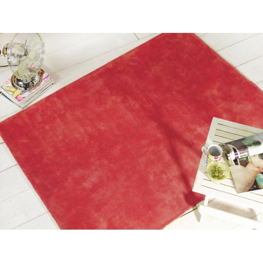 Liberty Glade Plain Soft Cotton Rug in Red 120 x 170 cm (4'x5'6'')