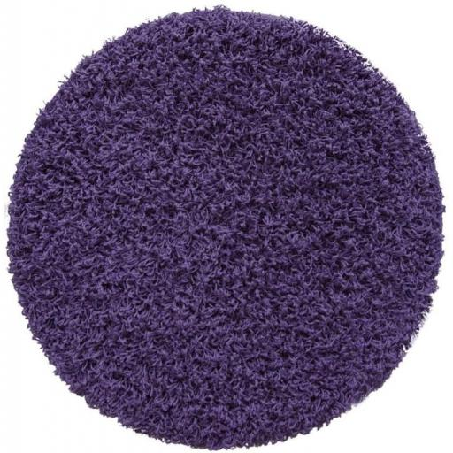Modern Relax Shaggy Violet Round Circle Rug in 160 x 160 cm (5'3''x5'3'')