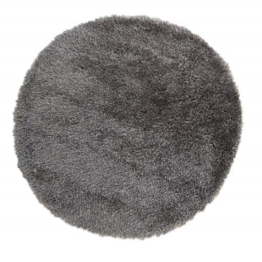 Santa Cruz Summertime High Pile Soft Shaggy Grey Mix Circle Rug in 135 x 135 cm Round