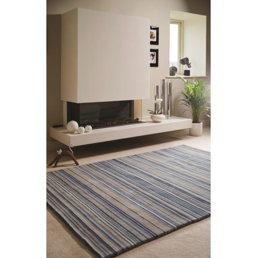 Origins Fine Stripes Hand Loom Woven Wool Rug Halway in Blue Beige