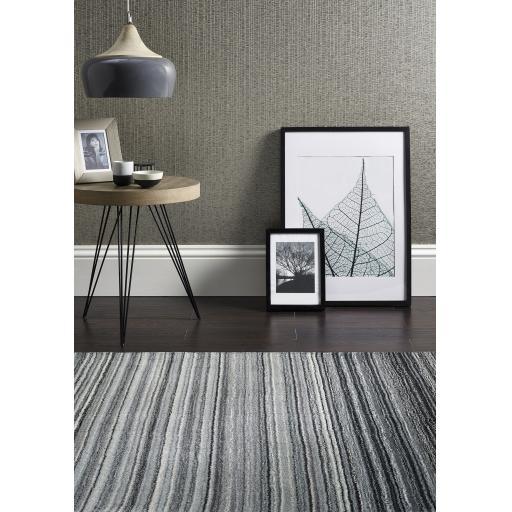 Origins Fine Stripes Hand Loom Woven Wool Rug Halway in Grey