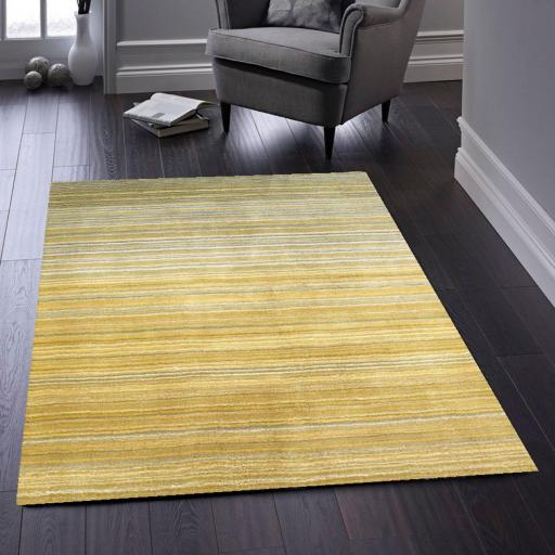 Origins Fine Stripes Hand Loom Woven Wool Rug Halway in Ochre
