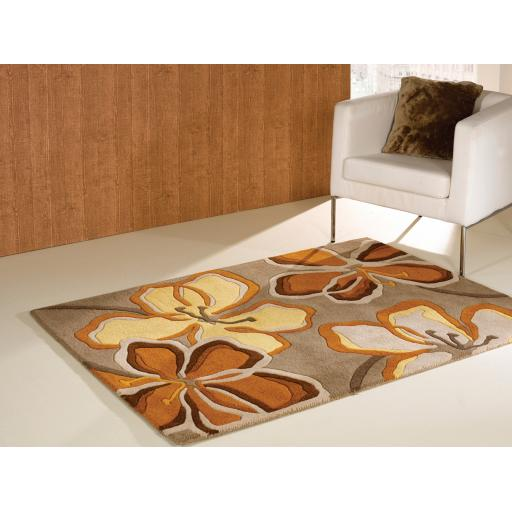 Wilderness Passion Flower Floral Design Wool Rug in Taupe Ochre 120 x 170 cm (4'x5'6'')