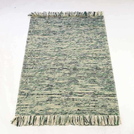 Retreat Maya 100% Wool Fringed Soft Rug in Teal/Turquoise and Charcoal