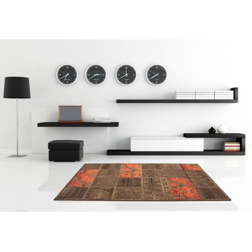 Contempo Patchwork Traditional Floral Design Rug in Coffee 120 x 170 cm (4'x5'6'')