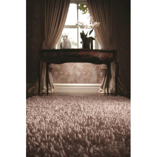 Imperial Luxury Fluffy Shaggy Hand Woven Wool Rug in Nude Colour