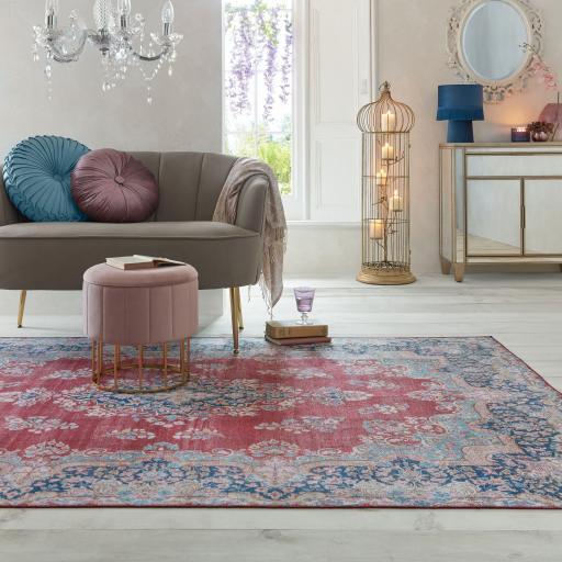 Fold Colby Chenille Floral Traditional Washable Rug Hallway Runner in Duck Egg and Red