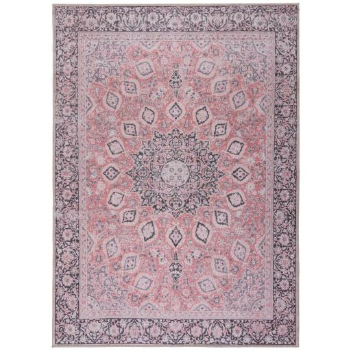 Fold Somerton Chenille Floral Traditional Washable Rug Hallway Runner in Pink