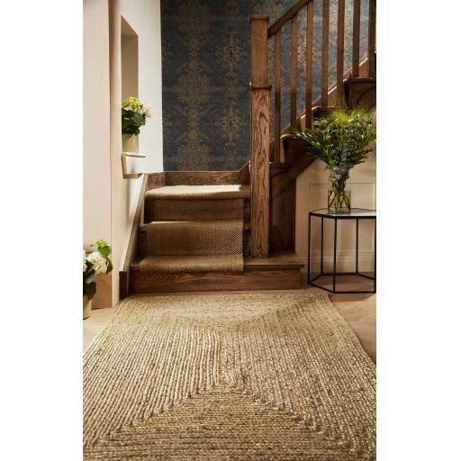 Jute Ekstra Handmade Braid Stitched Wool Natural Rug Hallway Runner and Circle Carpet