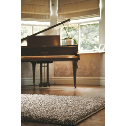 Imperial Luxury Shaggy Hand Woven Wool Rug in Dove Grey