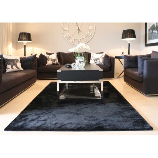 Luxury Plain Karma Guru Soft Silky Viscose Rug in Jet Black