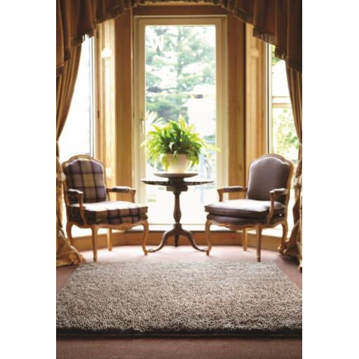 Imperial Luxury Shaggy Hand Woven Wool Rug in Mid Black Grey Mix