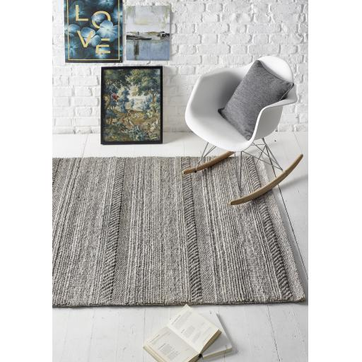 Modern Chunky Knit Flat Woven Handmade Wool Rug and Hallway Runner in Natural Grey