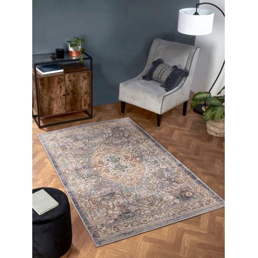 Nova Traditional Antique Soft Rug Hallway Runner in Green, White Yellow and Dark Blue