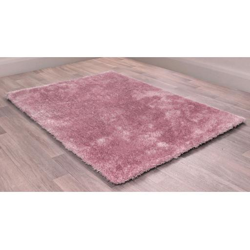 Indigo Plain High Pile Sparkle Soft Shaggy Blush Pink Rug