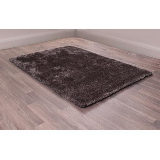 Indigo Plain High Pile Sparkle Soft Shaggy Grey Rug