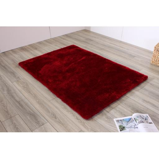 Indigo Plain High Pile Sparkle Soft Shaggy Red Rug