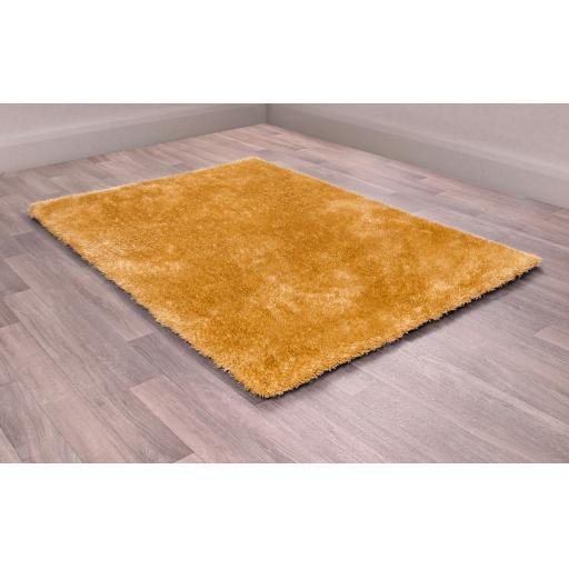 Indigo Plain High Pile Sparkle Soft Shaggy Ochre Rug