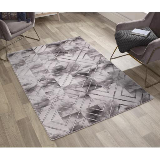 Bianco Luxurious Marble Chekered Geometric Design Soft Rug in Cream Gold and Grey