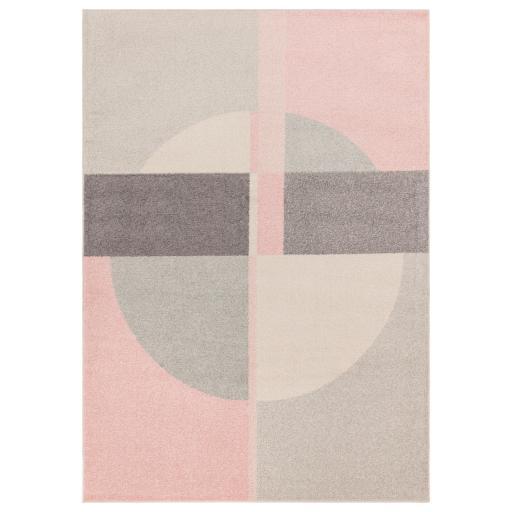 Muse Mu21 Modern Circle Geometric Pattern Pink Oblong Rug