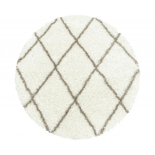Modern Alvor Geometric Soft Plush Shaggy Circle Round Rug in Beige, Cream, Grey, Taupe