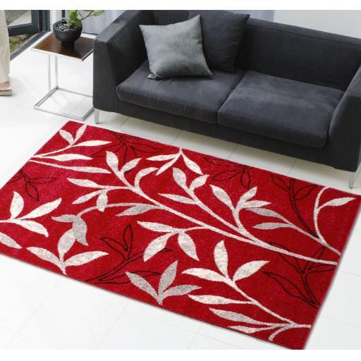 Modern Spirit Leaf Floral Botanical Rug in Red, Beige, Ochre, Grey and Teal