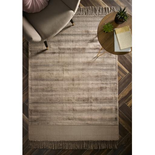 Delano Fringe Silky Shiny Plain Soft Viscose Tasseled Rugs in Mink