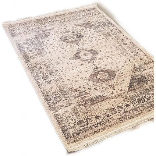Traditional Oriental Antique Vintage 703 Style Tasseled Rug in Multi and Silver Cream 120 x 170 cm (4'x5'6'')