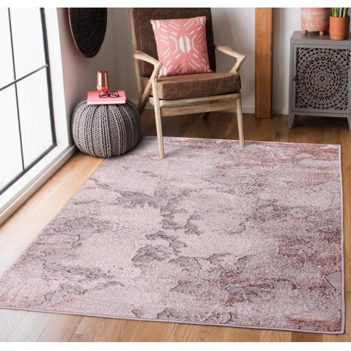 Modern Carrara E2592 Abstract Rug in Gold, Grey, Blue, Green and Pink